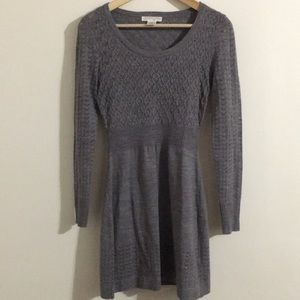 London Times Gray Small Knit Style Petite Dress S